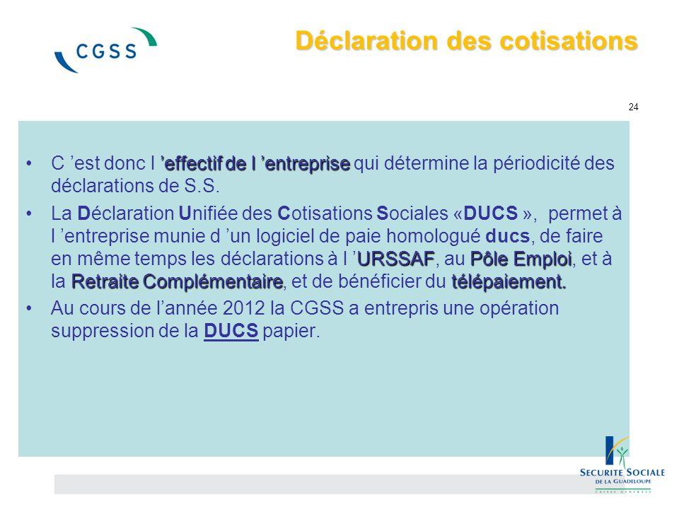 Déclaration des cotisations Déclaration des cotisations 24 'effectif de l 'entrepriseC 'est donc l 'effectif de l 'entreprise qui détermine la périodi