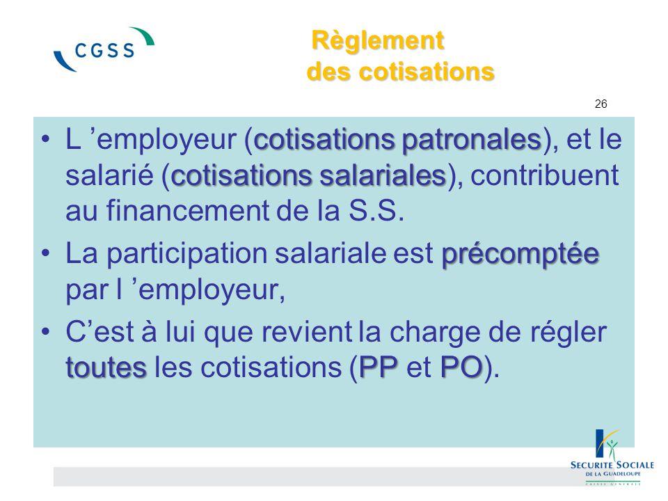 Règlement des cotisations Règlement des cotisations 26 cotisations patronales cotisations salarialesL 'employeur (cotisations patronales), et le salar