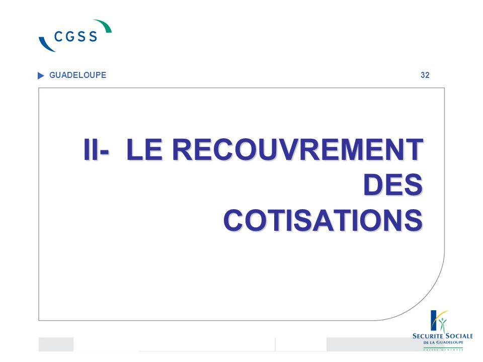 II- LE RECOUVREMENT DES COTISATIONS II- LE RECOUVREMENT DES COTISATIONS GUADELOUPE 32