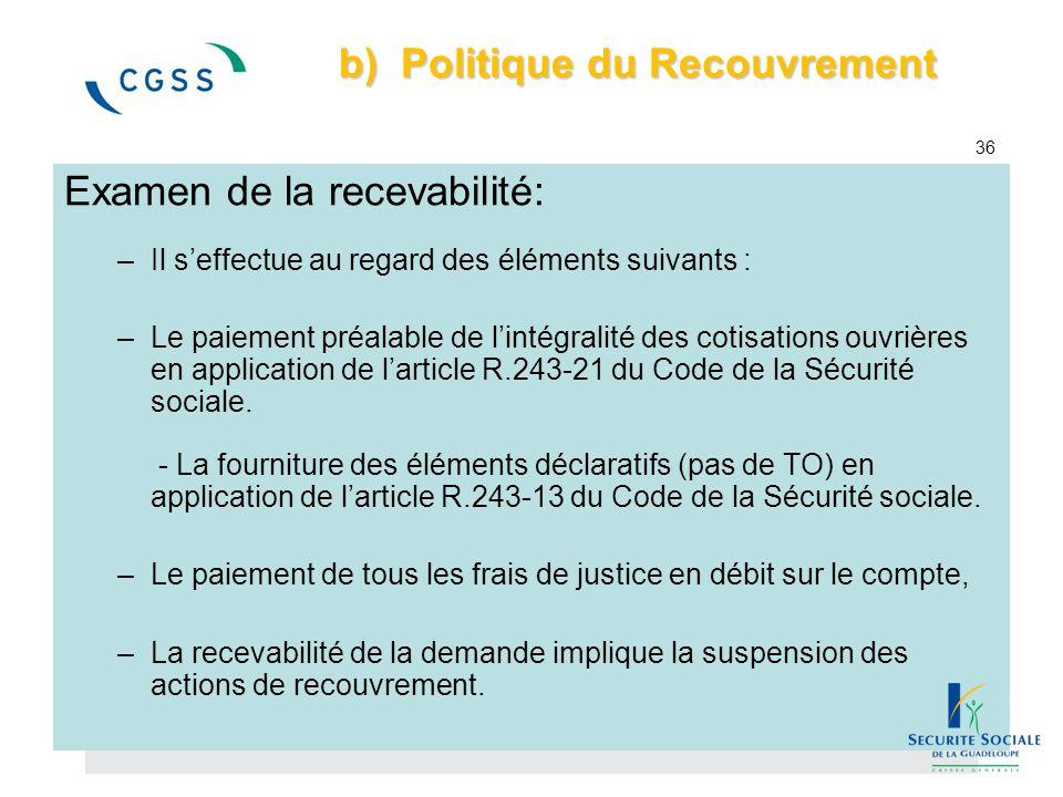 b) Politique du Recouvrement b) Politique du Recouvrement 36 Examen de la recevabilité: –Il s'effectue au regard des éléments suivants : –Le paiement