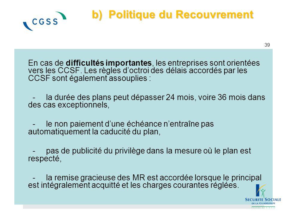 b) Politique du Recouvrement b) Politique du Recouvrement 39 En cas de difficultés importantes, les entreprises sont orientées vers les CCSF. Les règl