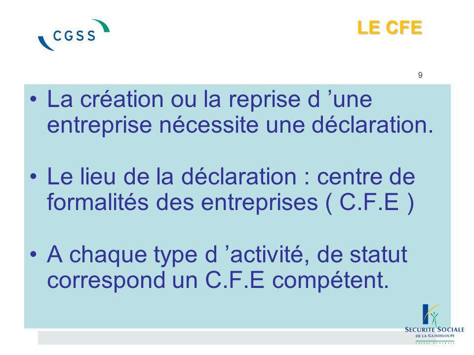 LE CFE LE CFE 9 La création ou la reprise d 'une entreprise nécessite une déclaration. Le lieu de la déclaration : centre de formalités des entreprise