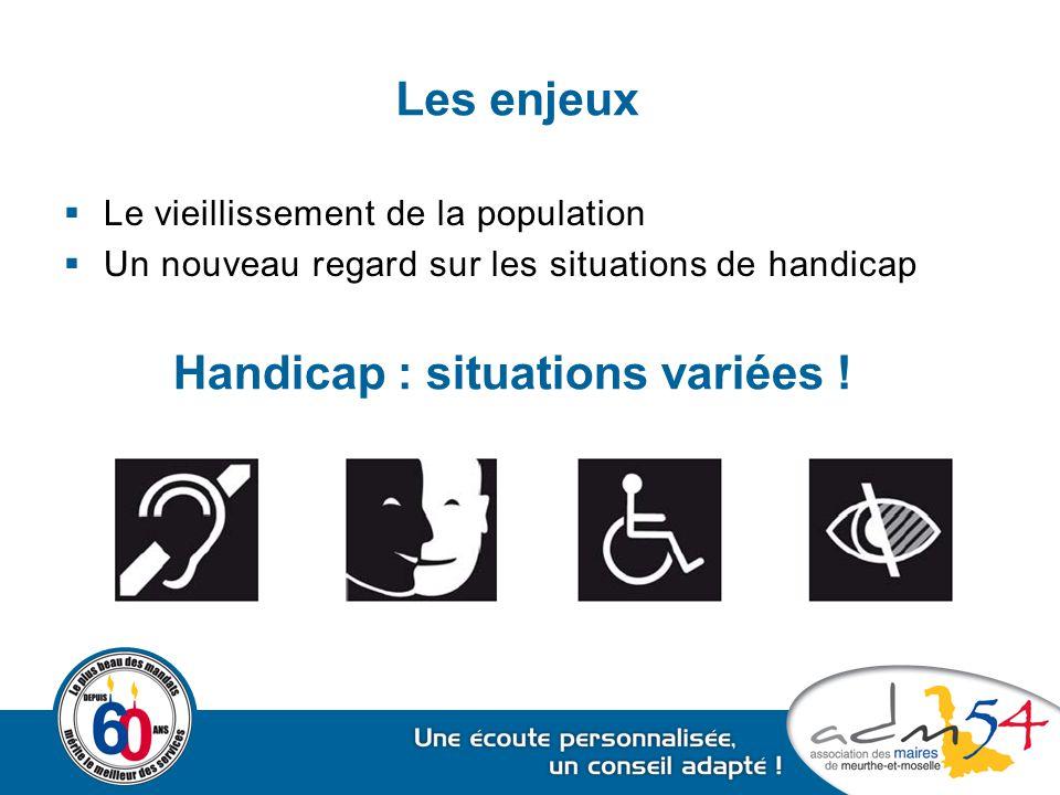  Le vieillissement de la population  Un nouveau regard sur les situations de handicap Les enjeux Handicap : situations variées !