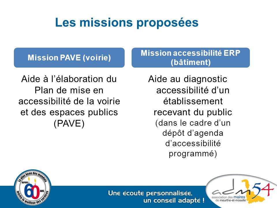Les missions proposées Aide à l'élaboration du Plan de mise en accessibilité de la voirie et des espaces publics (PAVE) Aide au diagnostic accessibili