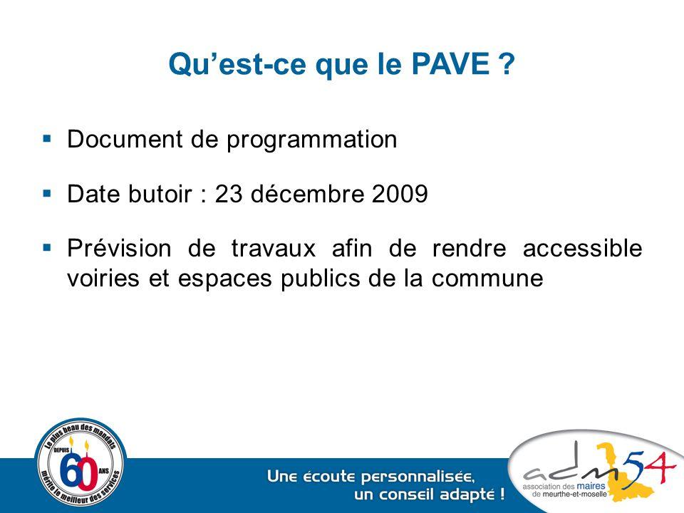 Qu'est-ce que le PAVE ?  Document de programmation  Date butoir : 23 décembre 2009  Prévision de travaux afin de rendre accessible voiries et espac