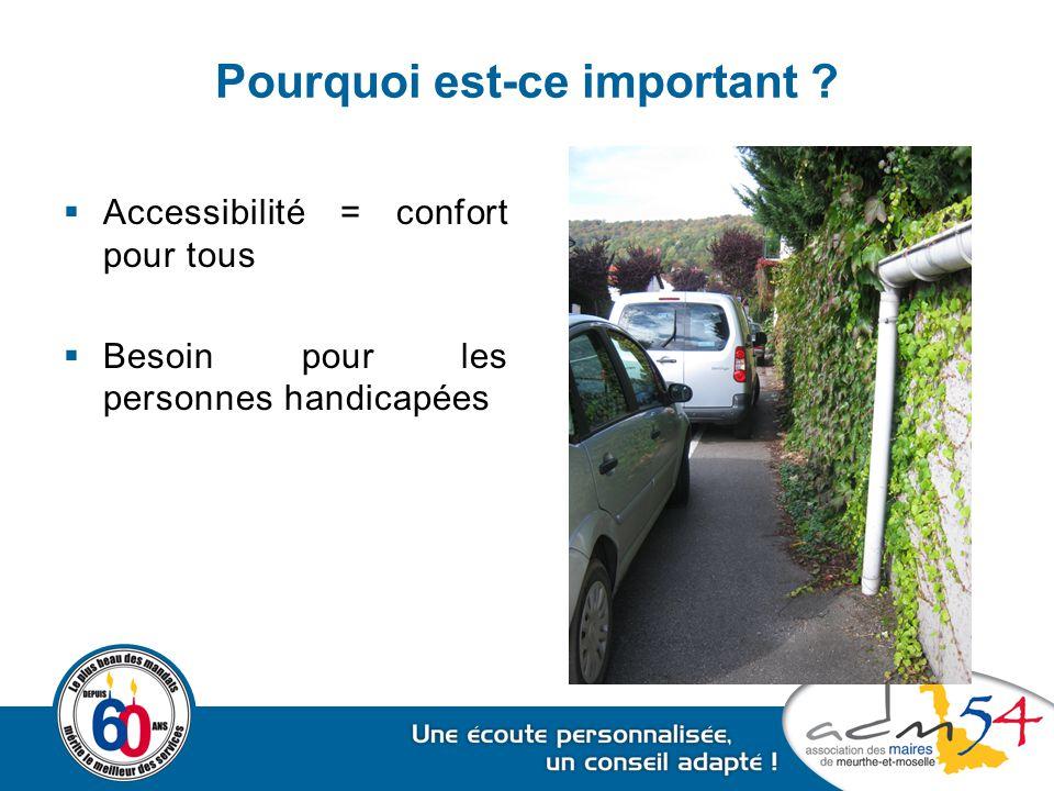 Pourquoi est-ce important ?  Accessibilité = confort pour tous  Besoin pour les personnes handicapées