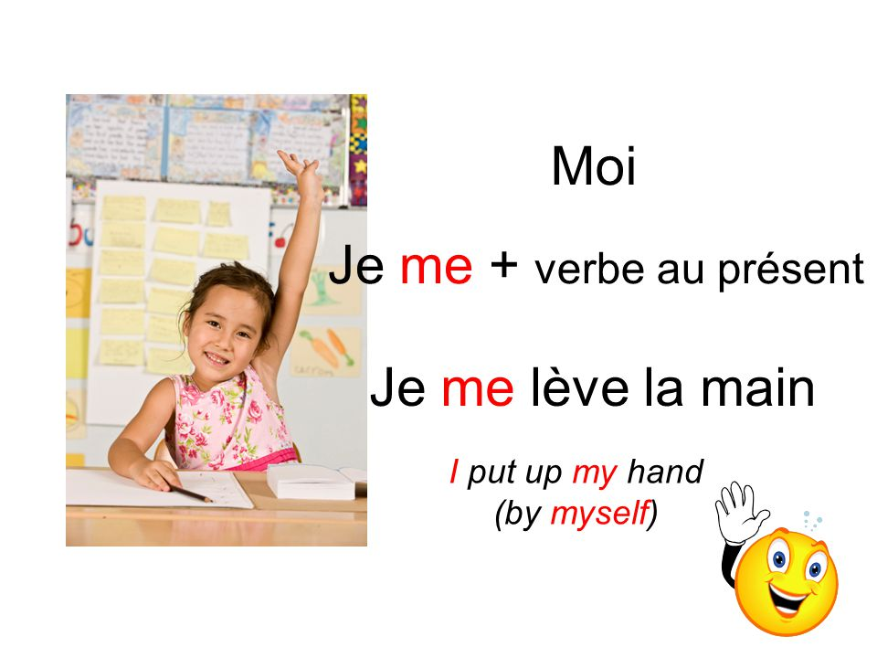 Moi Je me lève la main Je me + verbe au présent I put up my hand (by myself)