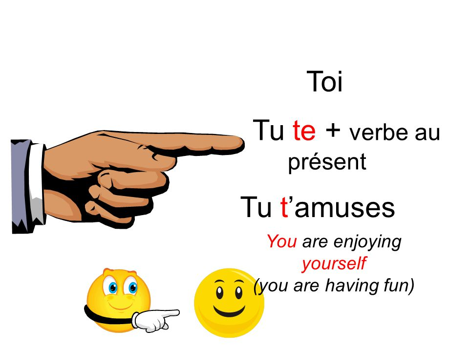 Toi Tu t'amuses Tu te + verbe au présent You are enjoying yourself (you are having fun)