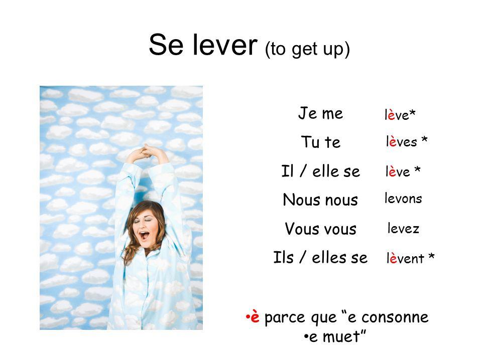 Se lever (to get up) Je me Tu te Il / elle se Nous nous Vous vous Ils / elles se lève* lèves * levons levez lèvent * è parce que e consonne e muet