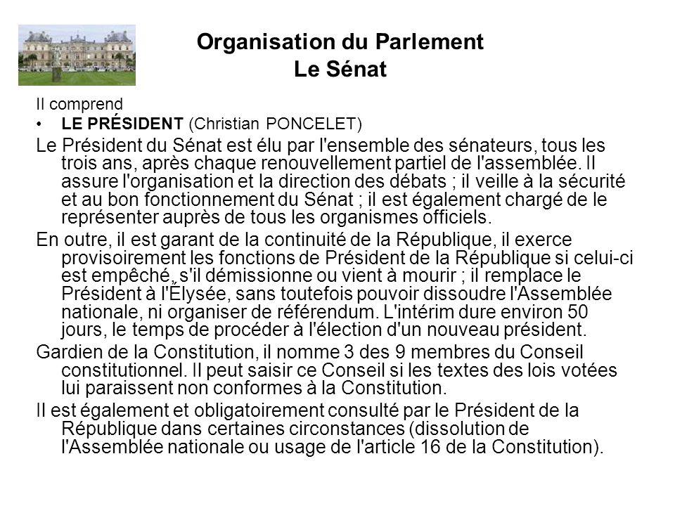 Organisation du Parlement Le Sénat LE BUREAU Le Président du Sénat est assisté dans sa tâche par 21 sénateurs, élus ou désignés immédiatement après lui.