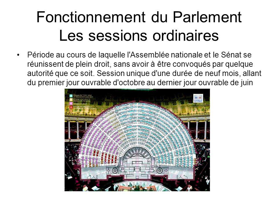 Fonctionnement du Parlement Les sessions extraordinaires Les sessions extraordinaires, définies aux articles 29 et 30 de la Constitution, sont ouvertes et closes par décret du Président de la République.