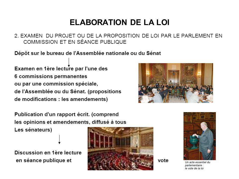 ELABORATION DE LA LOI Transmission à l autre assemblée qui n était pas saisie en premier (la navette) Examen en 1ère lecture par l une des 6 commissions permanentes ou par une commission spéciale, de l Assemblée ou du Sénat.