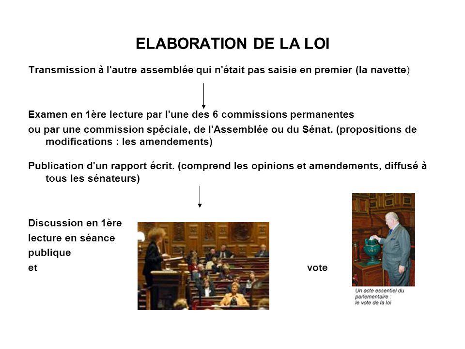 ELABORATION DE LA LOI En cas d accord entre les assemblées...