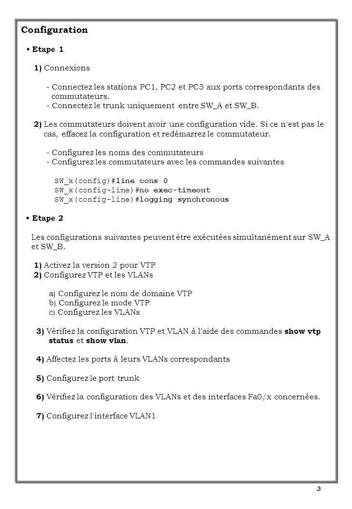 4 Configuration (suite) Etape 3 1) Exécutez les commandes show vtp status et show vtp counters sur les commutateurs SW_A et SW_B - Que pouvez-vous en conclure .