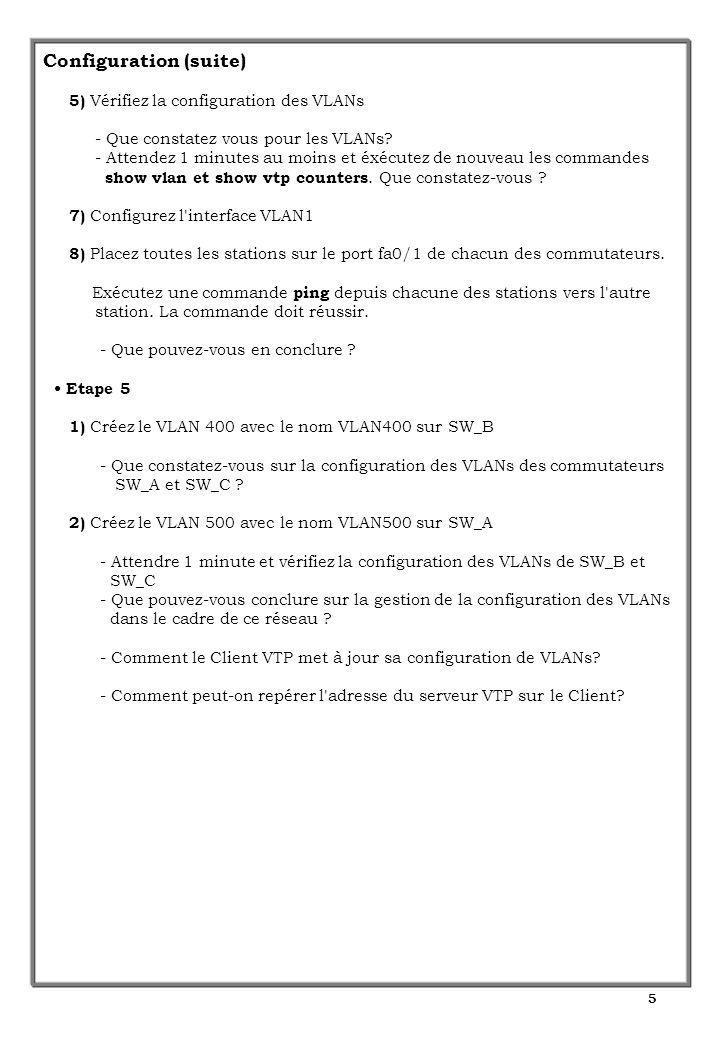 5 Configuration (suite) 5) Vérifiez la configuration des VLANs - Que constatez vous pour les VLANs? - Attendez 1 minutes au moins et éxécutez de nouve