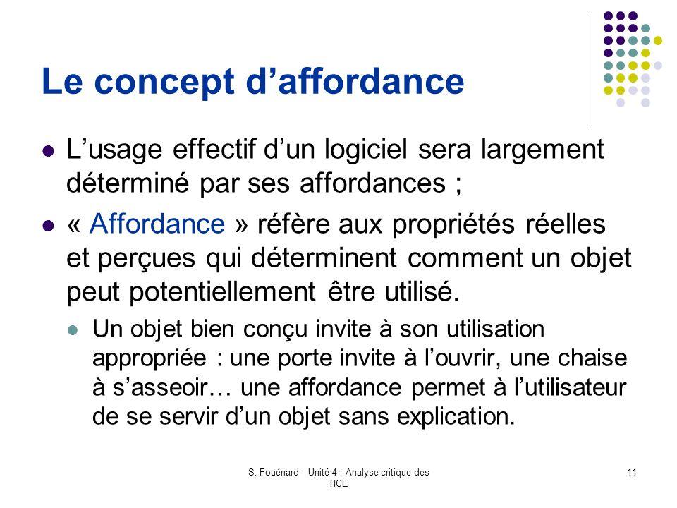 S. Fouénard - Unité 4 : Analyse critique des TICE 11 Le concept d'affordance L'usage effectif d'un logiciel sera largement déterminé par ses affordanc