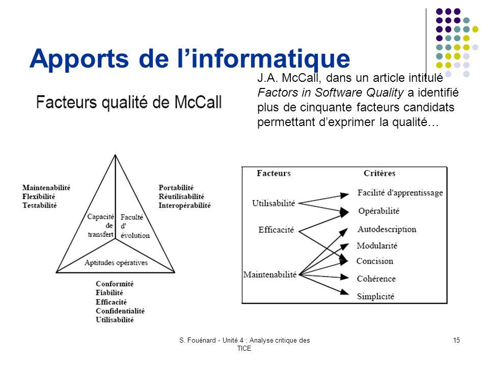 S. Fouénard - Unité 4 : Analyse critique des TICE 15 Apports de l'informatique J.A. McCall, dans un article intitulé Factors in Software Quality a ide