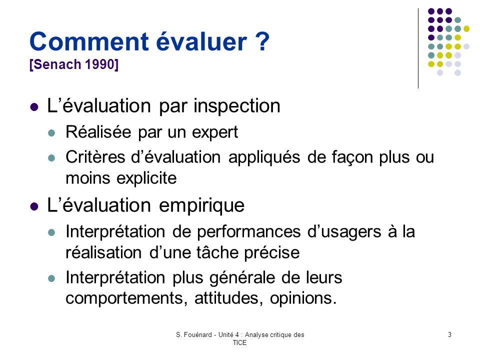 S. Fouénard - Unité 4 : Analyse critique des TICE 3 Comment évaluer ? [Senach 1990] L'évaluation par inspection Réalisée par un expert Critères d'éval