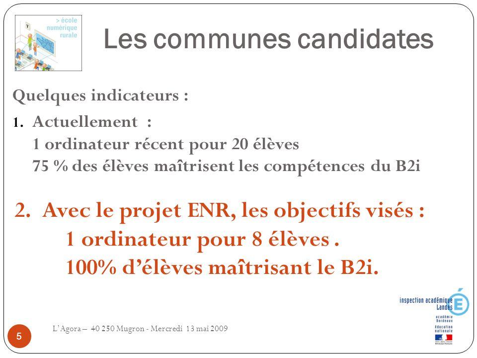 Les communes candidates L'Agora – 40 250 Mugron - Mercredi 13 mai 2009 5 Quelques indicateurs : 1. Actuellement : 1 ordinateur récent pour 20 élèves 7