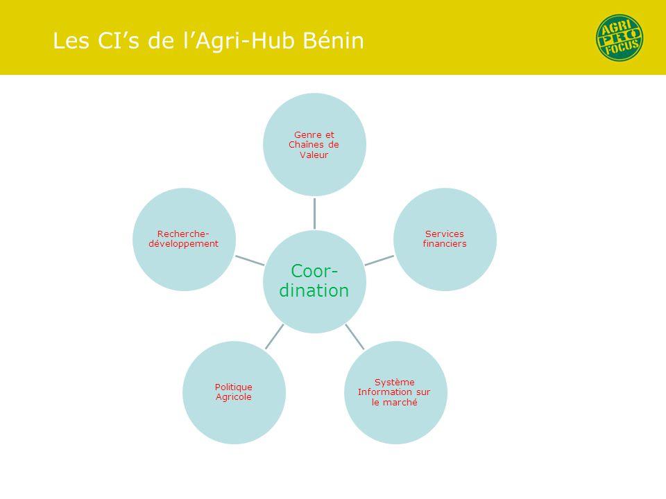 Les CI's de l'Agri-Hub Bénin Coor- dination Genre et Chaînes de Valeur Services financiers Système Information sur le marché Politique Agricole Recher
