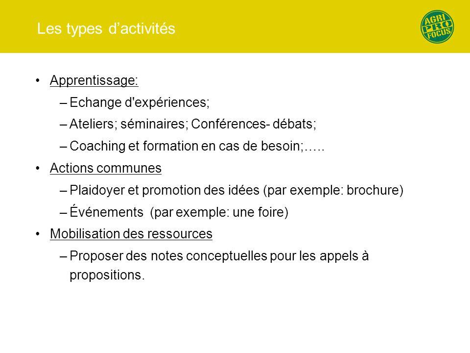 Les types d'activités Apprentissage: –Echange d'expériences; –Ateliers; séminaires; Conférences- débats; –Coaching et formation en cas de besoin;….. A