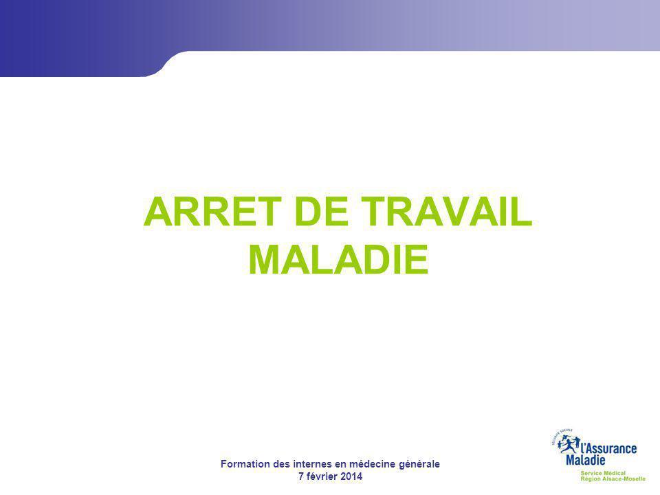 Formation des internes en médecine générale 7 février 2014 L'offre de service Assurance Maladie Plaquette assuré « Visite de pré-reprise » ARRET DE TRAVAIL MALADIE