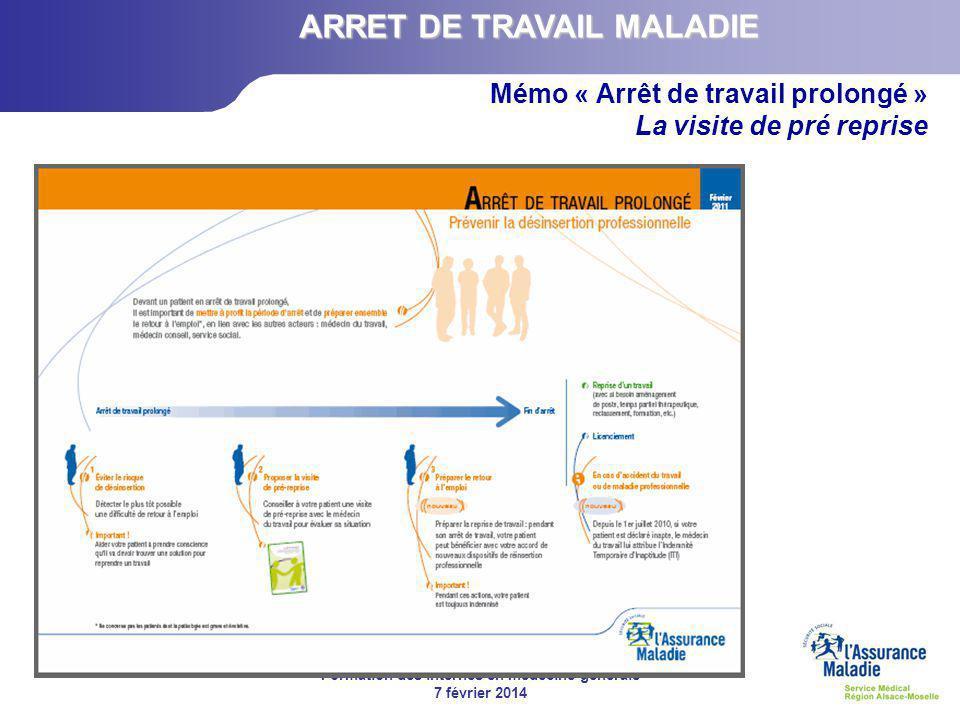 Formation des internes en médecine générale 7 février 2014 Mémo « Arrêt de travail prolongé » La visite de pré reprise ARRET DE TRAVAIL MALADIE