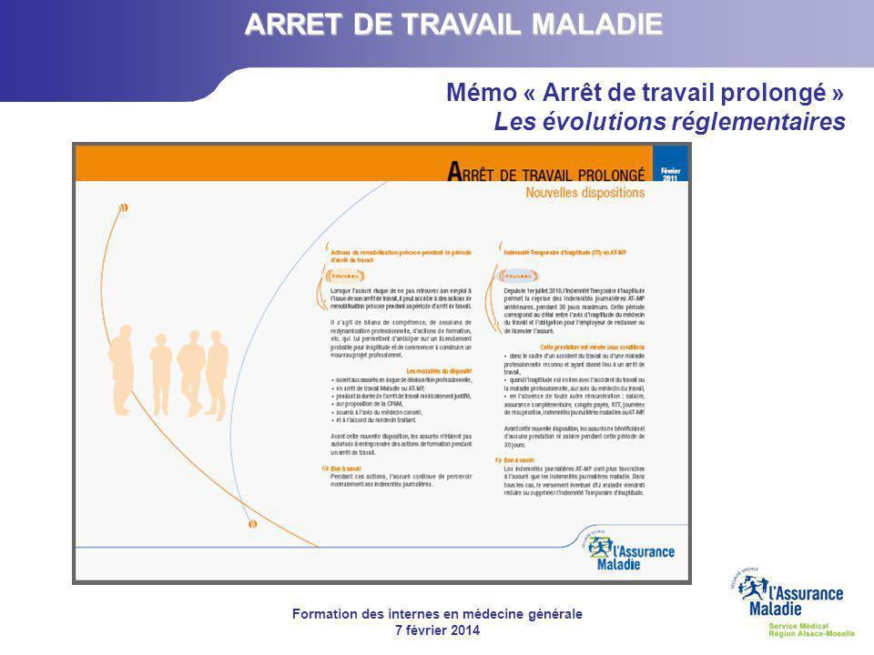 Formation des internes en médecine générale 7 février 2014 Mémo « Arrêt de travail prolongé » Les évolutions réglementaires ARRET DE TRAVAIL MALADIE