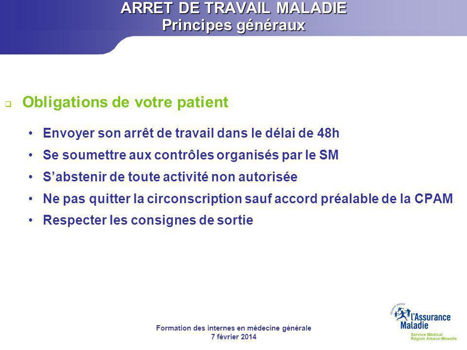 Formation des internes en médecine générale 7 février 2014 ARRET DE TRAVAIL MALADIE Principes généraux  Arrêt de travail de longue durée Art.