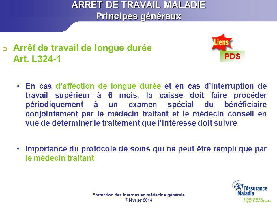 Formation des internes en médecine générale 7 février 2014 Prévention de la désinsertion professionnelle ARRET DE TRAVAIL MALADIE