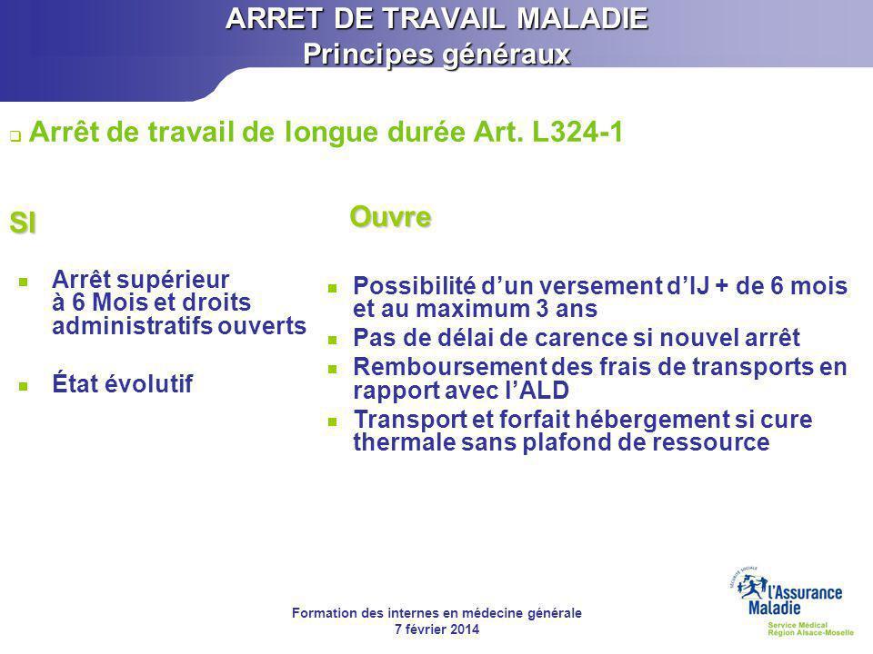 Formation des internes en médecine générale 7 février 2014 Arrêt de courte durée (48h à 30 jours) Au 45 ème jour d'IJ prescrites Art.