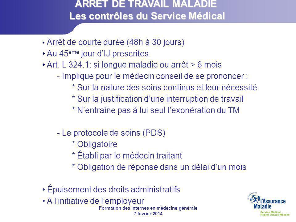 Formation des internes en médecine générale 7 février 2014  Elle peut être décidée par le service du contrôle médical.