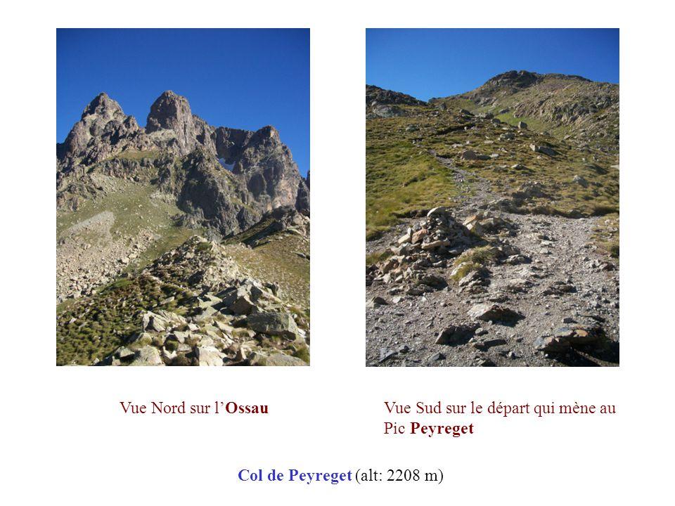 Col de Peyreget (alt: 2208 m) Vue Nord sur l'OssauVue Sud sur le départ qui mène au Pic Peyreget