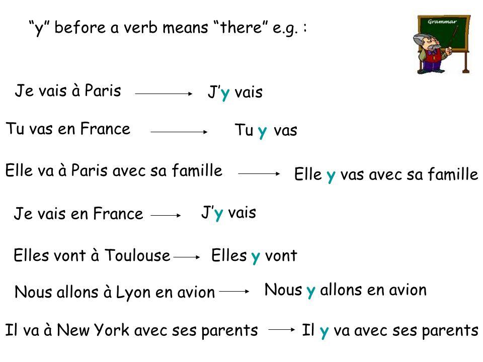 """Je vais à Paris J'y vais """"y"""" before a verb means """"there"""" e.g. : Tu vas en France Tu y vas Elle va à Paris avec sa famille Elle y vas avec sa famille J"""