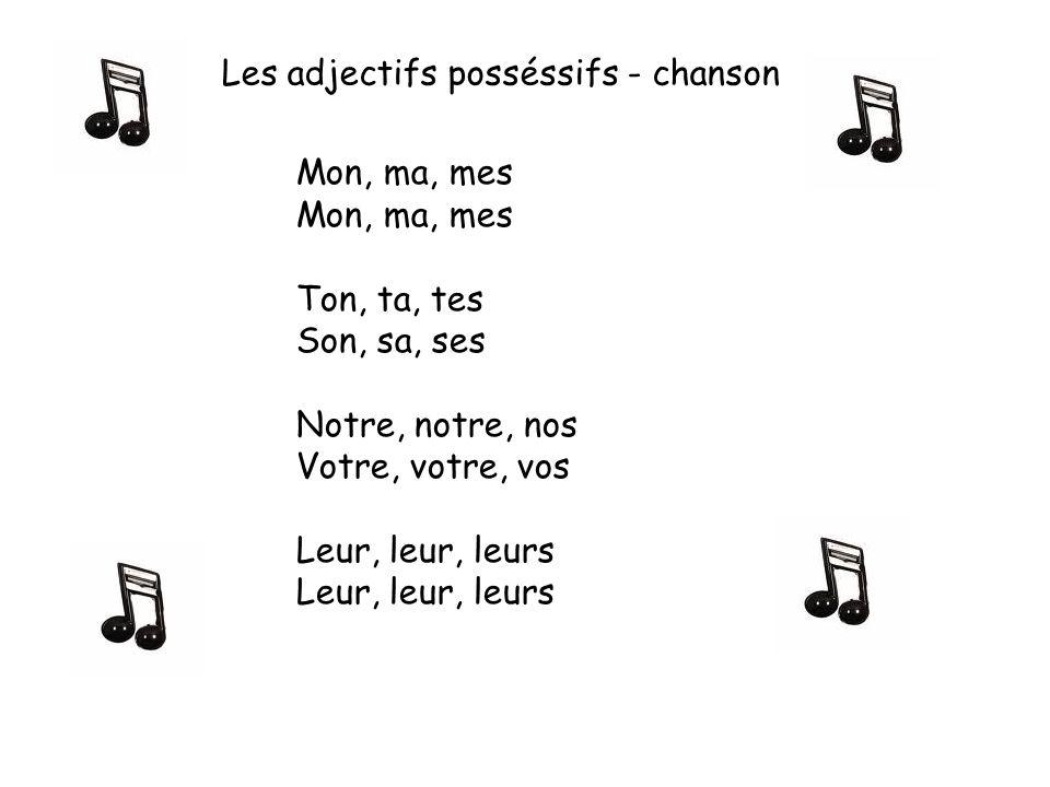 Mon, ma, mes Ton, ta, tes Son, sa, ses Notre, notre, nos Votre, votre, vos Leur, leur, leurs Les adjectifs posséssifs - chanson