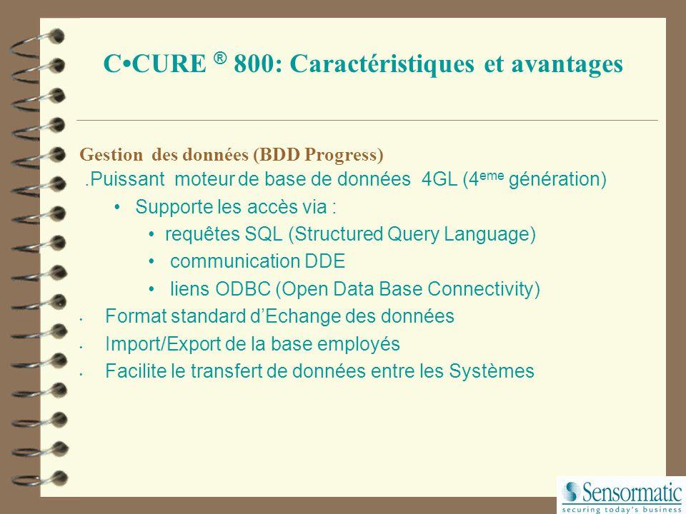 8000 EnterPrise Server 128 2500 10000 Capacité de 500,000 badges Modèle PC clients simultanés Nb de lecteurs Nb entrées Nb de sorties Capacités du CCU