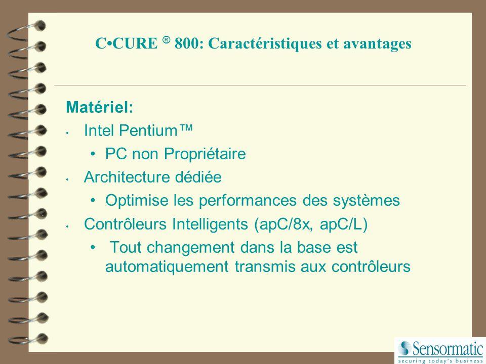 CCURE ® 800: Caractéristiques et avantages Aide en ligne Aide avec liens Hypertext (Champs Sensitifs) Accélère les temps d'apprentissage Minimise les