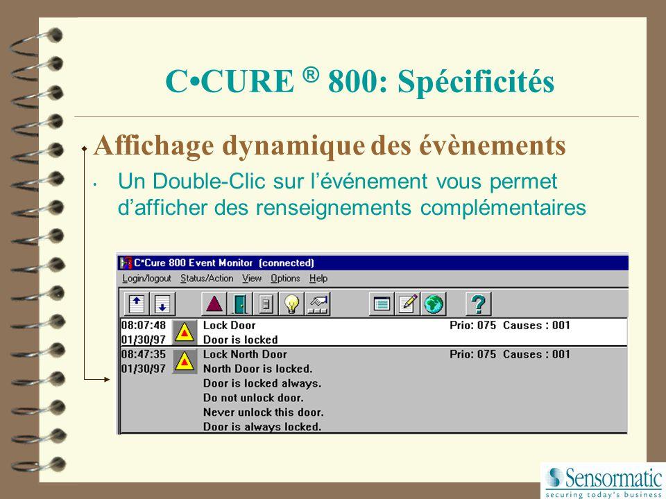 CCURE ® 800 : Spécificités Interface graphique conviviale Accès simultané Programme Administration de la base Programme Monitoring