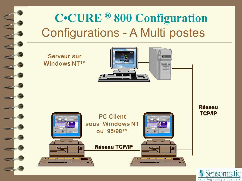 CCURE ® 800 Configuration Configuration A Serveur/Client sur le PC sous Windows NT™ Mono poste