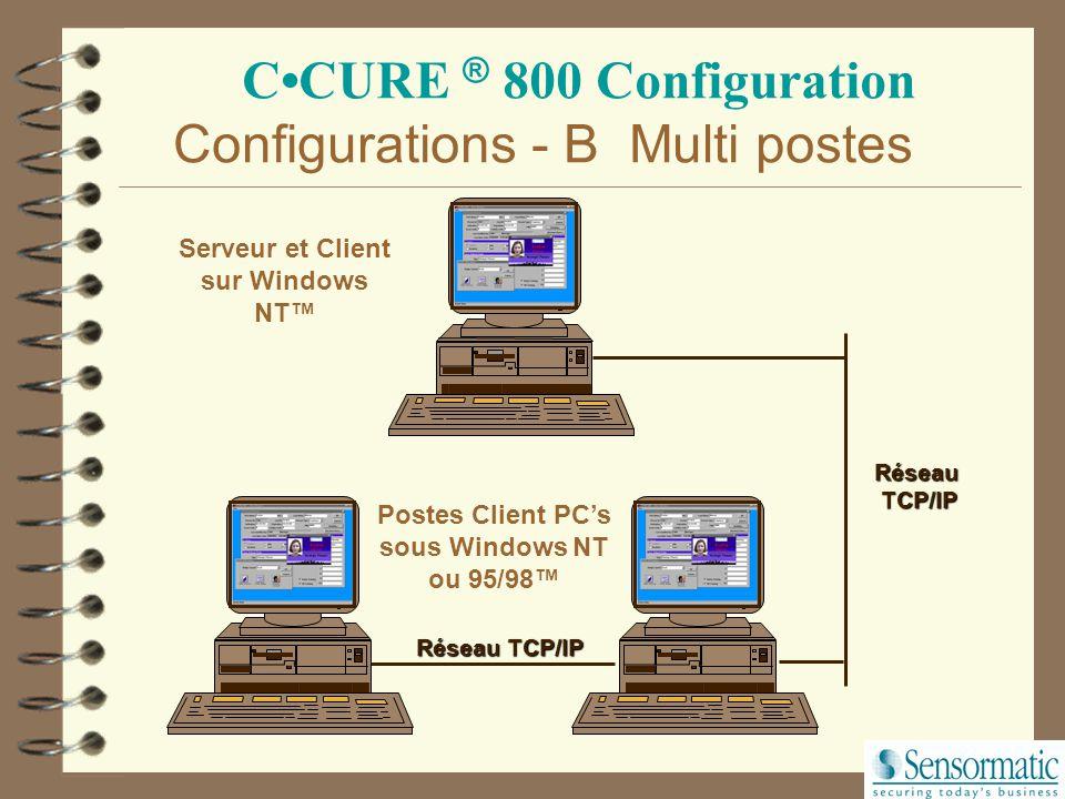 CCURE ® 800 Configuration Serveur sur Windows NT™ PC Client sous Windows NT ou 95/98™ Réseau TCP/IP Configurations - A Multi postes RéseauTCP/IP