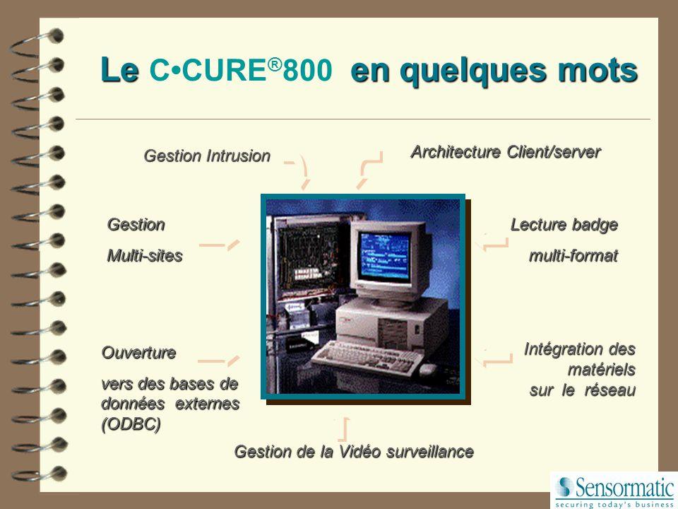 CCURE ® 800: Spécificités Protection par mots de passe Système Windows NT Logiciel C-CURE800 Programme Administration Programme Monitoring