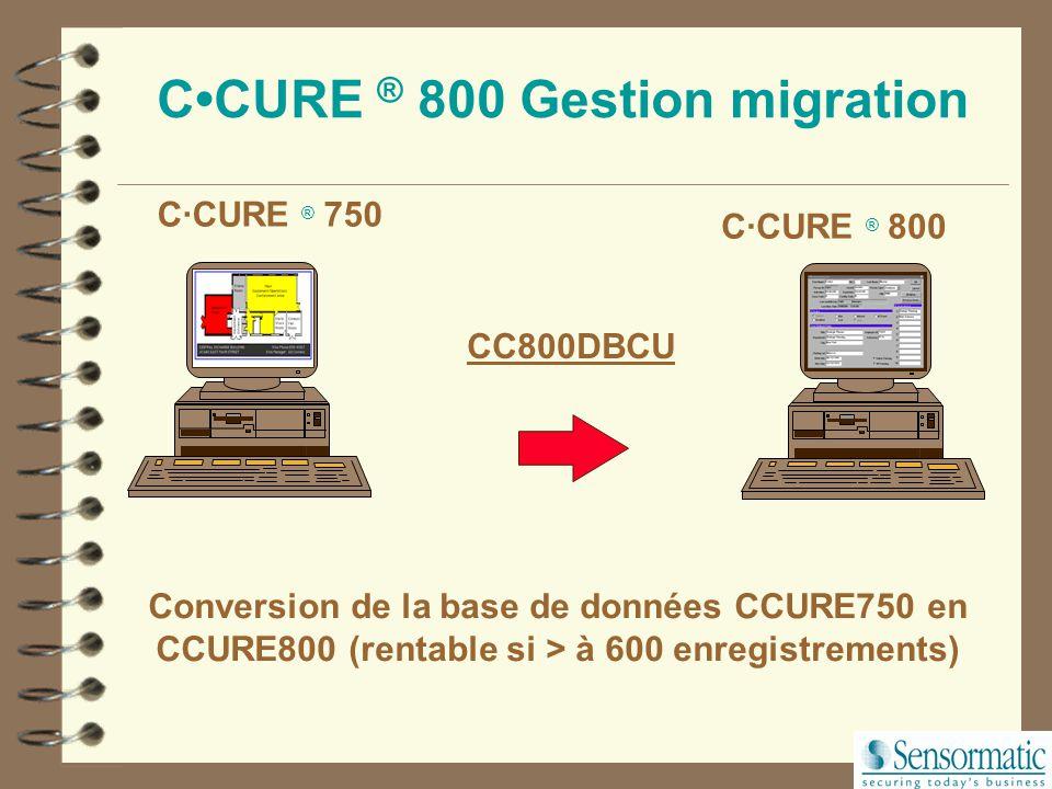 C·CURE ® 750 CCURE ® 800 Gestion migration C·CURE ® 800 Ajouter: PC Serveur Windows NT logiciel C·CURE ® 800 serveur Ajouter: C·CURE ® 800 Logiciel Cl