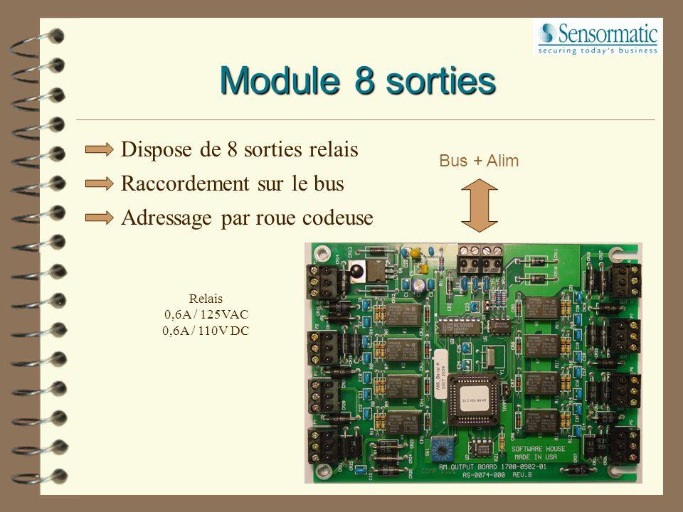 Raccordement sur le bus Adressage par roue codeuse Bus + Alim 1K  NO 1K  NF Module 8 entrées Dispose de 8 entrées équilibrées