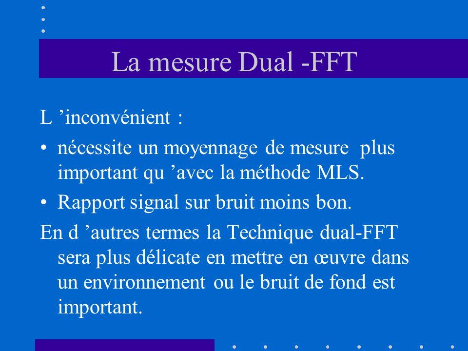 La mesure Dual -FFT L 'inconvénient : nécessite un moyennage de mesure plus important qu 'avec la méthode MLS. Rapport signal sur bruit moins bon. En