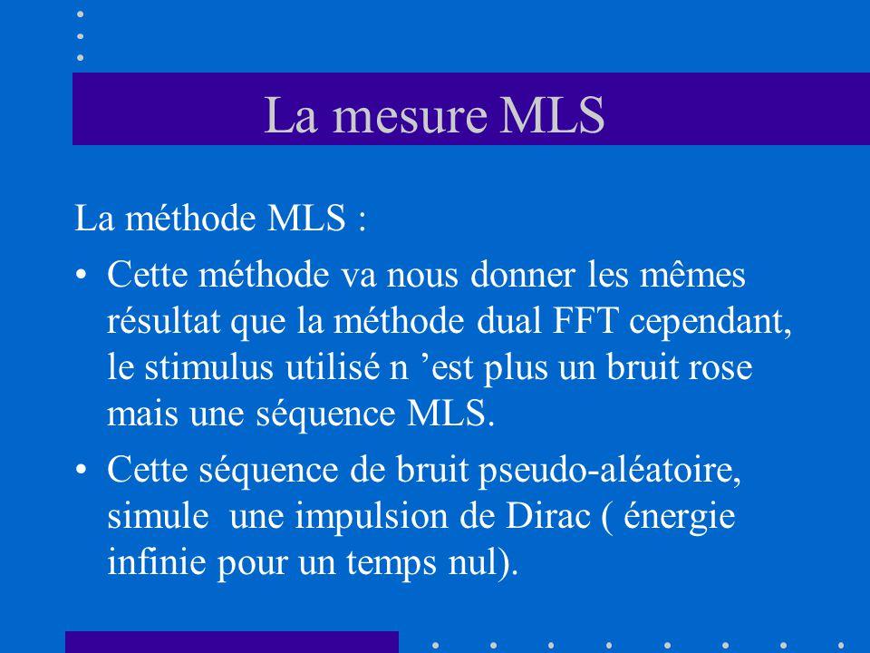 La méthode MLS : Cette méthode va nous donner les mêmes résultat que la méthode dual FFT cependant, le stimulus utilisé n 'est plus un bruit rose mais