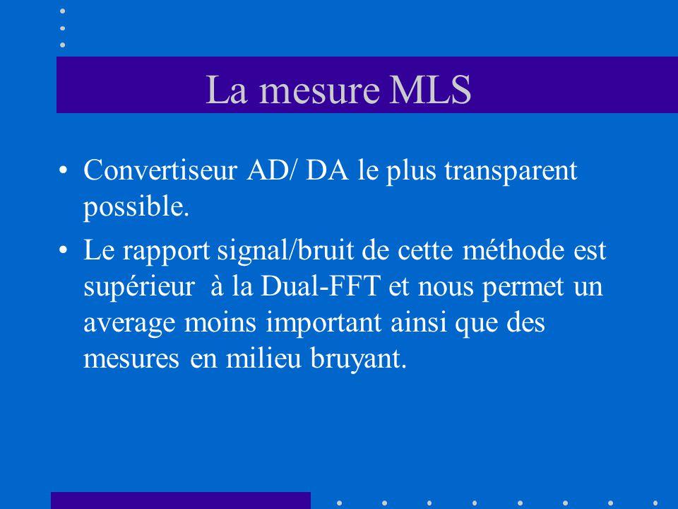 La mesure Dual -FFT et MLS Ces deux méthodes sont employées pour une même finalité : Obtenir la réponse impultionnelle de notre salle afin d 'en connaître les caractéristiques acoustiques et psycho- acoustiques.