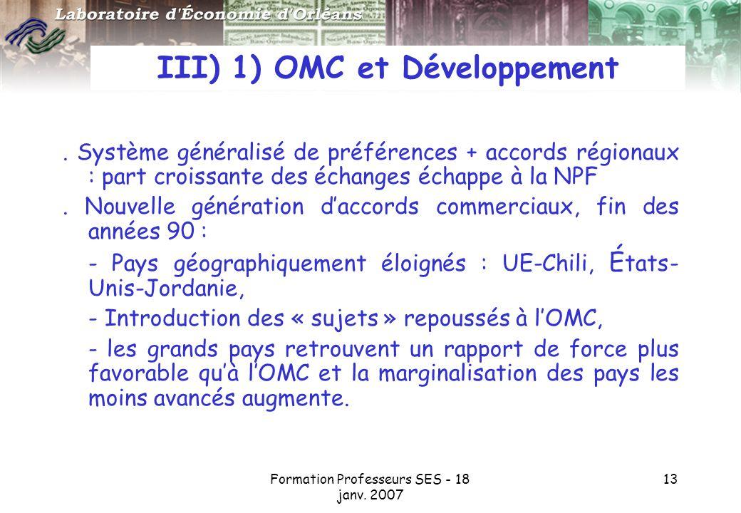 Formation Professeurs SES - 18 janv.2007 13 III) 1) OMC et Développement.