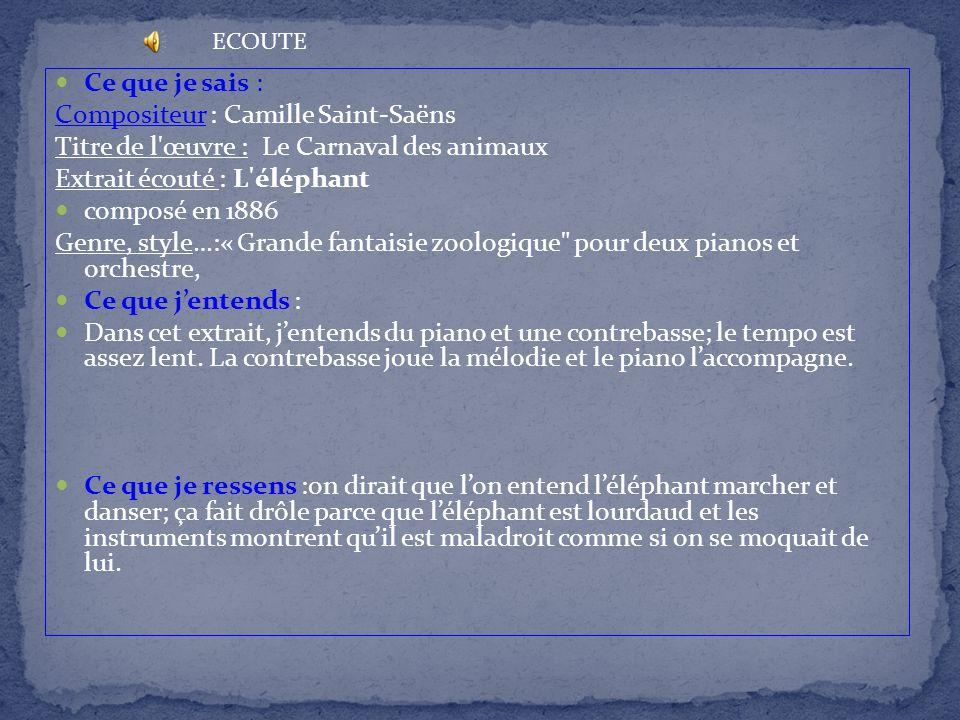 Ce que je sais : Compositeur : Camille Saint-Saëns Titre de l'œuvre : Le Carnaval des animaux Extrait écouté : L'éléphant composé en 1886 Genre, style