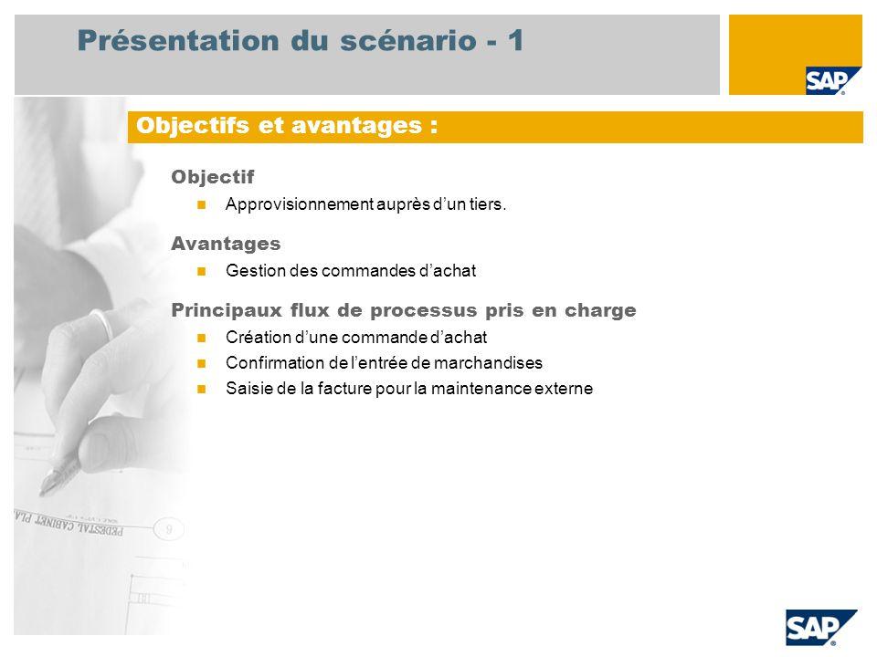Présentation du scénario - 1 Objectif Approvisionnement auprès d'un tiers. Avantages Gestion des commandes d'achat Principaux flux de processus pris e
