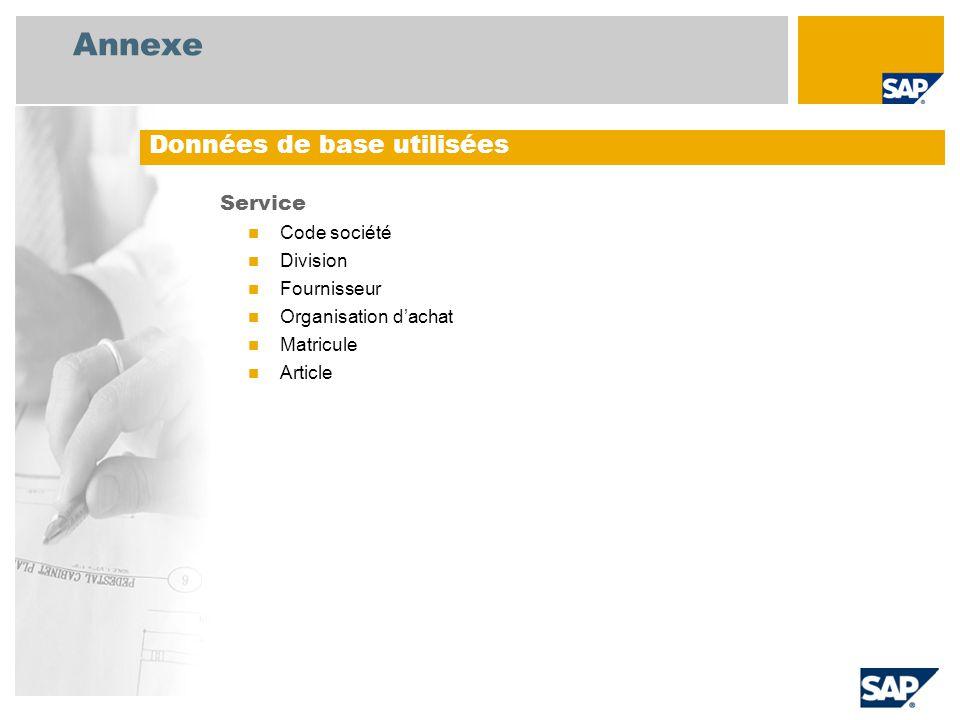 Annexe Service Code société Division Fournisseur Organisation d'achat Matricule Article Données de base utilisées